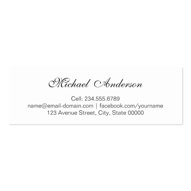 Silver Metallic Look Graduation Name Card Namecard (back side)