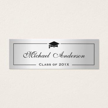 CardHunter Silver Metallic Look Graduation Name Card Namecard