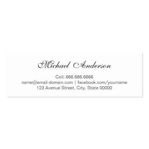 Silver Metallic Look Graduation Name Card Namecard Business Card (back side)