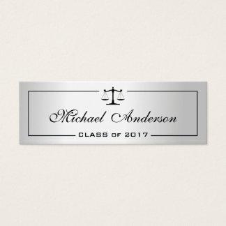Silver Metallic Look Justice Law School Student Mini Business Card