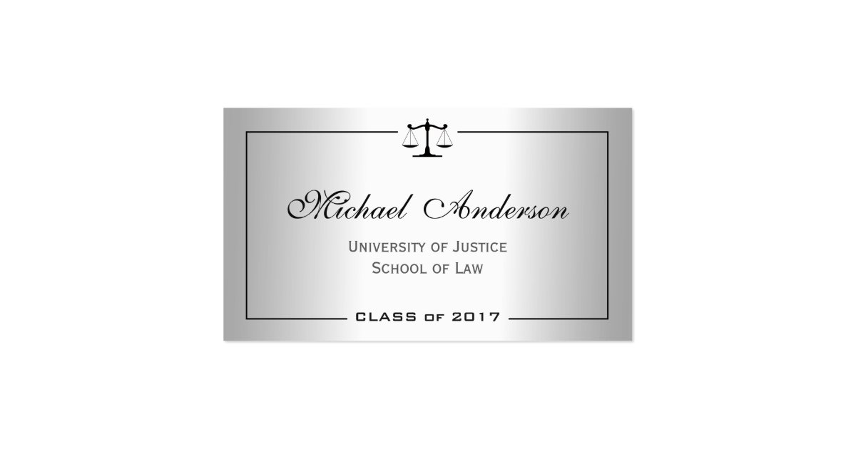 Silver Metallic Look Law School Student Business Card