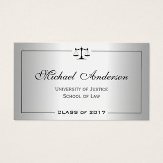 Silver Metallic Look Law School Student Business Card