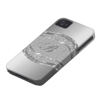 Silver Metallic Look With Diamonds Pattern iPhone 4 Cover