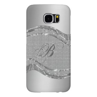 Silver Metallic Look With Diamonds Pattern Samsung Galaxy S6 Case