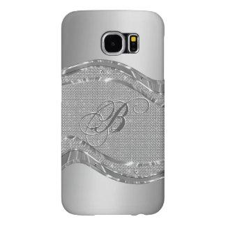 Silver Metallic Look With Diamonds Pattern Samsung Galaxy S6 Case