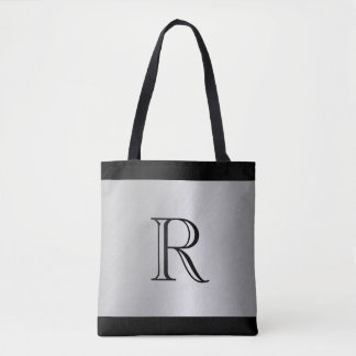 Silver Metallic Looking Background with Monogram Tote Bag