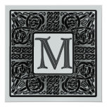 Silver Metallic M Monogram Invitation