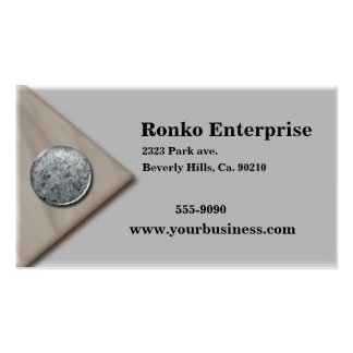 Silver Metallic Marble Button Business Card