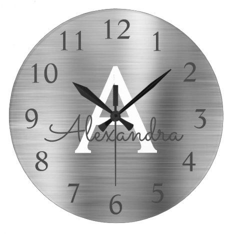 Silver Metallic Monogram Name & Initial Large Clock