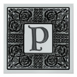 Silver Metallic P Monogram Invitation