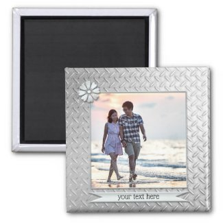 Silver Metallic Personalized Photo Magnet