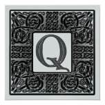Silver Metallic Q Monogram Invitation