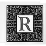 Silver Metallic R Monogram Invitation