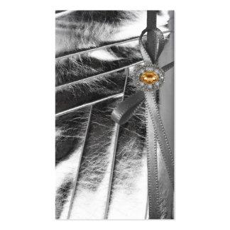 Silver Metallic Ribbon & Jeweled Business Card