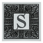 Silver Metallic S Monogram Invitation
