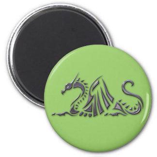 Silver Metallic Sea Dragon 2 Inch Round Magnet
