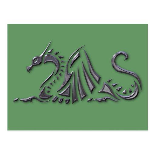 Silver Metallic Sea Dragon Postcard