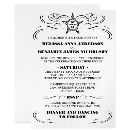 Silver Metallic Southern Style Wedding Invitation