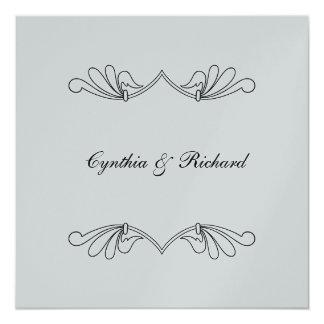 Silver Metallic Square Wedding Invitations