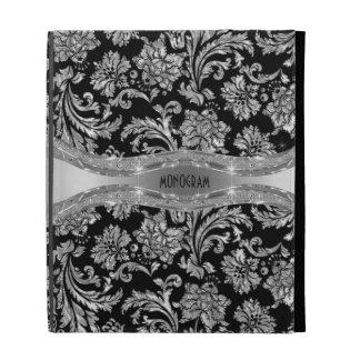 Silver Metallic Stainless Steel Look 2-Monogram iPad Cases