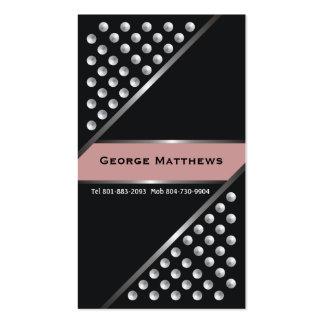 Silver metallic studs black dust pink business card