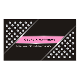 Silver metallic studs black pink business cards business card