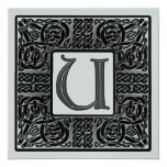 Silver Metallic U Monogram Invitation