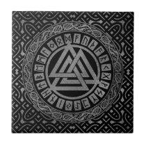 Silver Metallic Valknut Symbol on Celtic Pattern Ceramic Tile