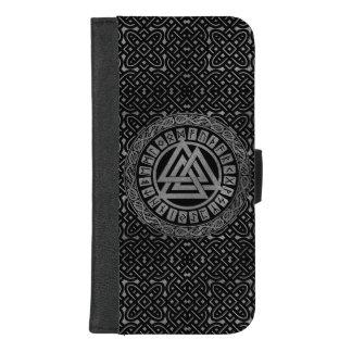 Silver Metallic Valknut Symbol on Celtic Pattern iPhone 8/7 Plus Wallet Case