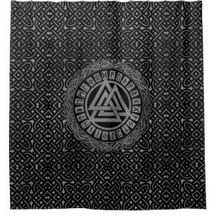 Silver Metallic Valknut Symbol On Celtic Pattern Shower Curtain