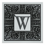 Silver Metallic W Monogram Invitation