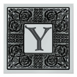 Silver Metallic Y Monogram Invitations