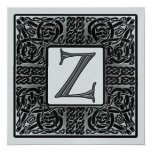 Silver Metallic Z Monogram Invitation