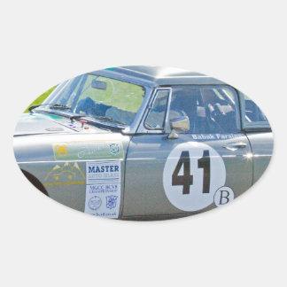 Silver MG racing car Oval Sticker