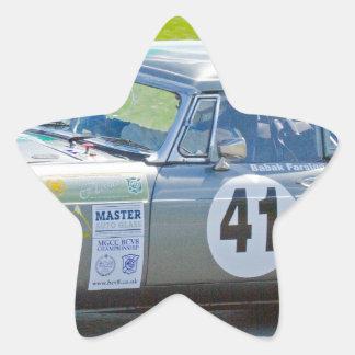 Silver MG racing car Star Sticker