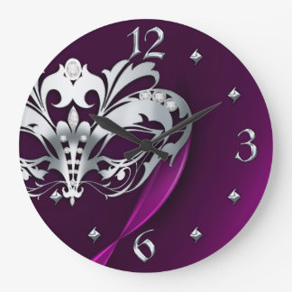 Silver Midnight Masquerade Pink Clock