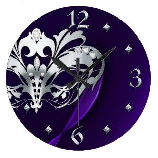 Silver Midnight Masquerade Purple Clock