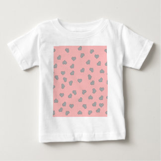 SILVER MINI HEARTS ON PINK BABY T-Shirt