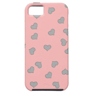SILVER MINI HEARTS ON PINK iPhone SE/5/5s CASE