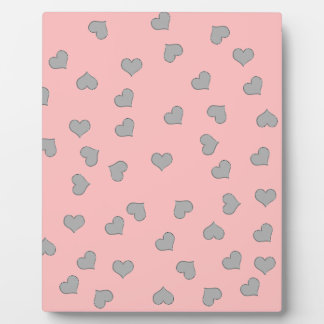 SILVER MINI HEARTS ON PINK PLAQUE