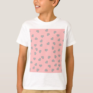 SILVER MINI HEARTS ON PINK T-Shirt