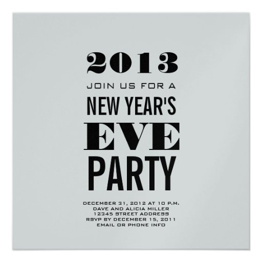 Silver Modern 2013 New Year's Eve Party Invite