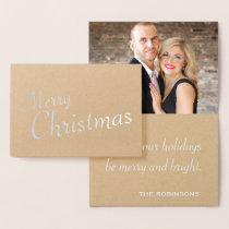 Silver Modern Merry Christmas Family Photo Foil Card