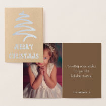 Silver Modern Merry Christmas Tree Family Photo Foil Card