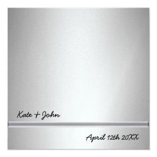 Silver modern wedding invitations