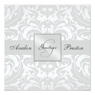 "Silver Monogram Damask Wedding Invitation 5.25"" Square Invitation Card"