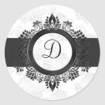 silver monogram envelope seal classic round sticker