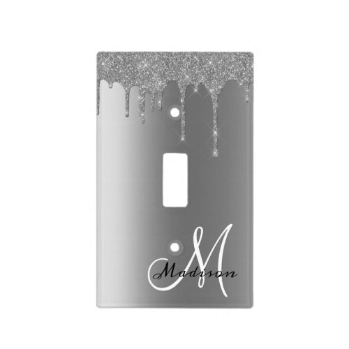 Silver Monogram Glitter Drips Pretty Light Switch Cover