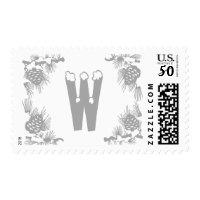 Silver Monogram Holidays Postage