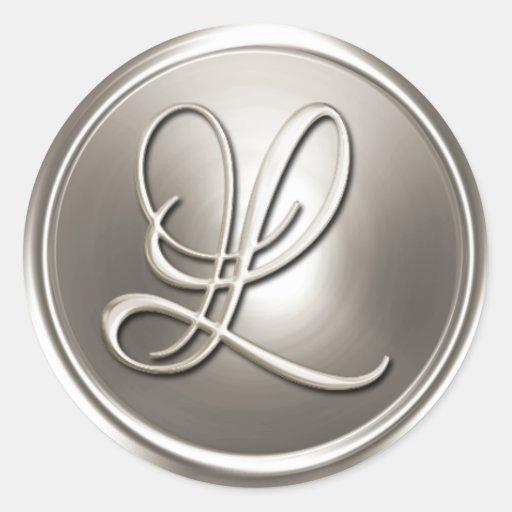 Personalized Silver Beads Wedding Monogram Seals Round Sticker: www.zazzle.com/silver_monogram_l_envelope_seal_stickers...